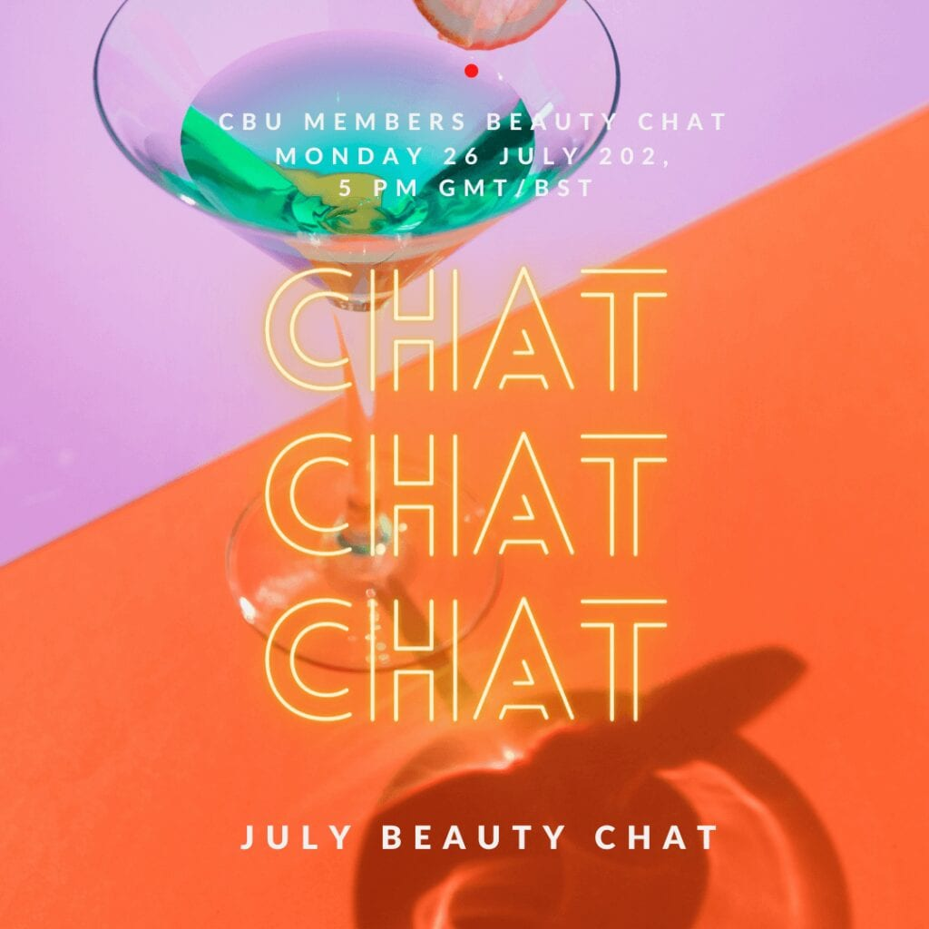 July Beauty Chat graphic. Cocktail on pink and orange background with the words chat chat chat