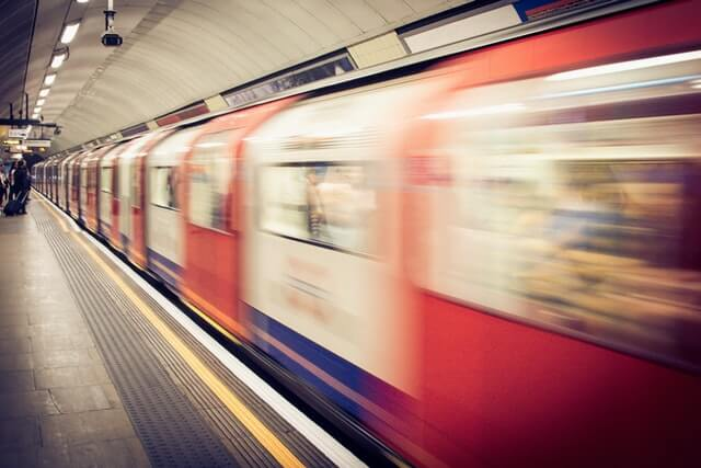 Anticipation. Blurred image of a train in the London Underground