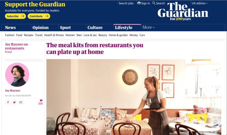 A screen shot of the Guardian article featuring Simply Stem. There is a women laying a table while wearing an apron.