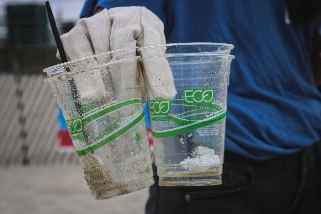 Hands holding eco cup
